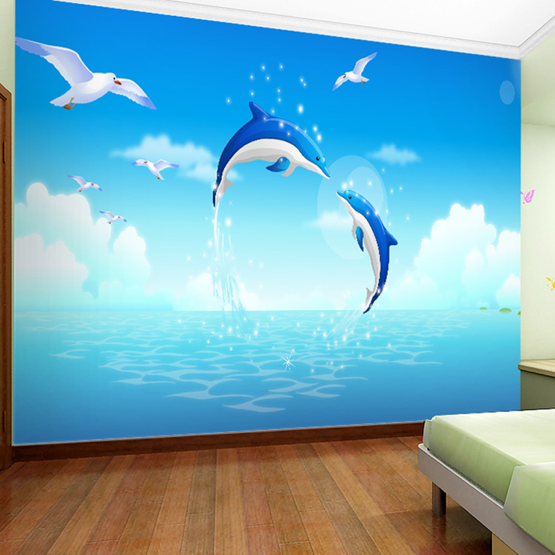 Online get cheap dolphin wallpapers for Dolphin wall mural