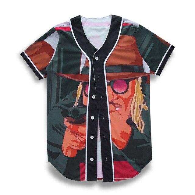 2de5571071cfb9 Hip Hop T Shirt Men Baseball Jersey Tshirt Streetwear Unisex Cartoon  Character 3D Print Harajuku Punk T-Shirts Tee Tops Clothing