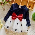 2016 Autumn Long Sleeved Mesh Dot Polka Bow Baby Party girls kids Children Cotton dresses, princess infants Dress Vestido S3862