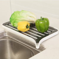 Household Kitchen Tools Plastic Multi function Drain Rack Simple Double Drain Drying Rack Vegetables Fruit Dishes Drain Rack