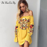 DeRuiLaDy 2017 Autumn Long Sleeve Dress Women Sexy Off Shoulder Floral Embroidered Black White Dresses Casual