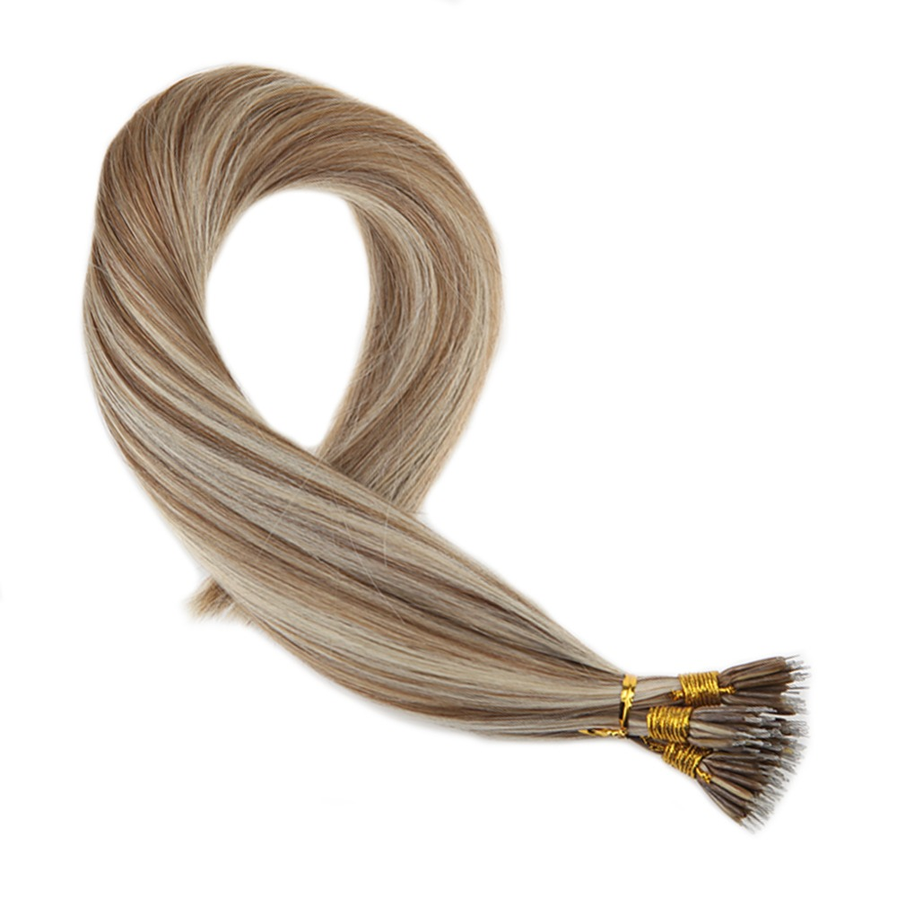 Moresoo Straight Micro Nano 100 Real Human Hair Extensions Medium Brown#6 Mixed With Platinum Blonde#60 50 Strands 40g Per Pack