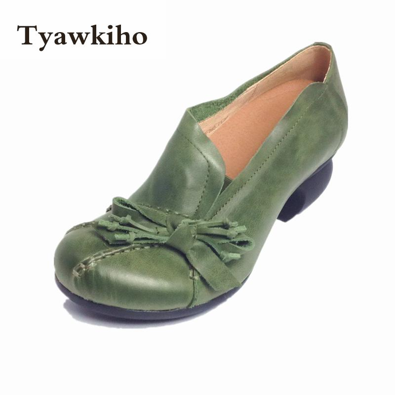 Discount Spring Womens Green Pumps Sale Sheepskin Ladies 5CM Heel Shoes Handmade Women Ruby Slipper Shoes