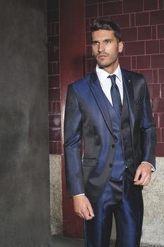 Latest Design Mens Dinner Party Prom Suits Groom Tuxedos Groomsmen Wedding Blazer Suits (Jacket+Pants+Vest+Tie) K:1265