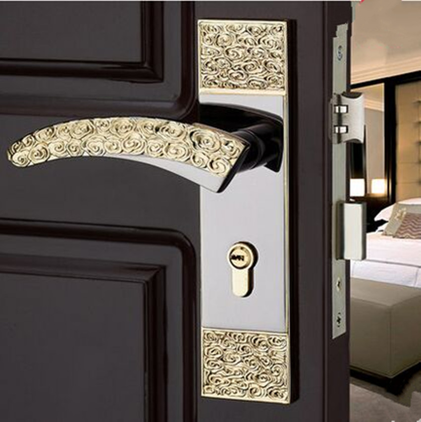 Modern fashion golden black indoor wooden door locks , antique brass Clouds bedroom kitchen Solid wood panel handle lock european fashion ivory white bedroon door handles antique bronze mute wooden door lock gold indoor locks modern simple