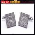 Luxury Silver Plated Full Rhinestone Crystal Cuff Link for Man Black Business Party Enamel Dot Grid Link Cufflink Jewelry Gift