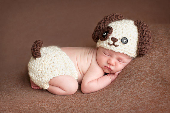 a9f43e2c6 US $8.54 39% OFF free shipping, newborn Puppy hat ,baby Crochet dog Hat &  diaper cover baby Set newborn kintting Photography Prop size:0 1m,3 4m-in  ...