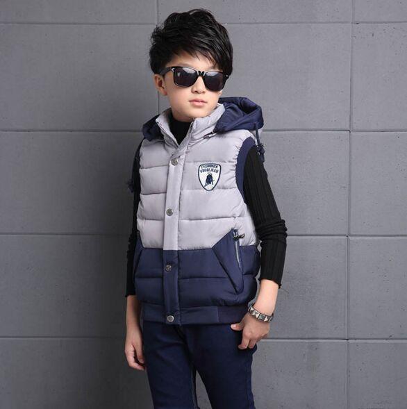 ФОТО Brand Casual Kids vest for Boy Patchwork Warm Winter Jacket Outwear Children Fashion Boy Clothing Good Quality Cotton Inside