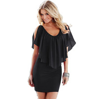 2015 Free Shipping Summer Dress Chiffon Pure Color Sexy Dress Fashion Joint Vestido De Festa Party
