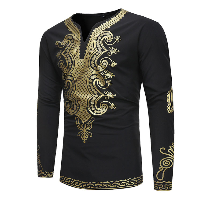 African Clothes for Man Traditional Africa Clothing Hip Hop Tops Dashiki Tribal Ethnic V-neck Shirts Embroidery Costumes