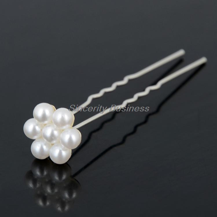 NEW 20 Pcs Lots Wedding Bridal Crystal Faux Pearl Flower Hairpins Hair Pins Daquan White Pearl