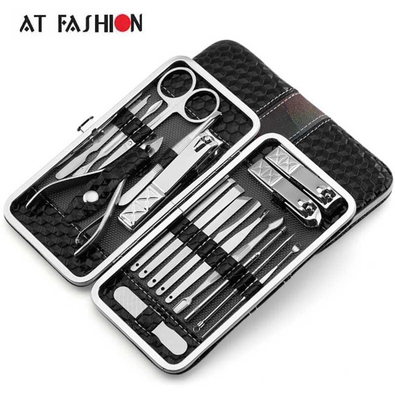 AT FASHION 18 PCS Nail Clipper Kit Professional Nail Art Stainless steel Nail Manicure Set Eyebrow Scissors Twezeer Knife