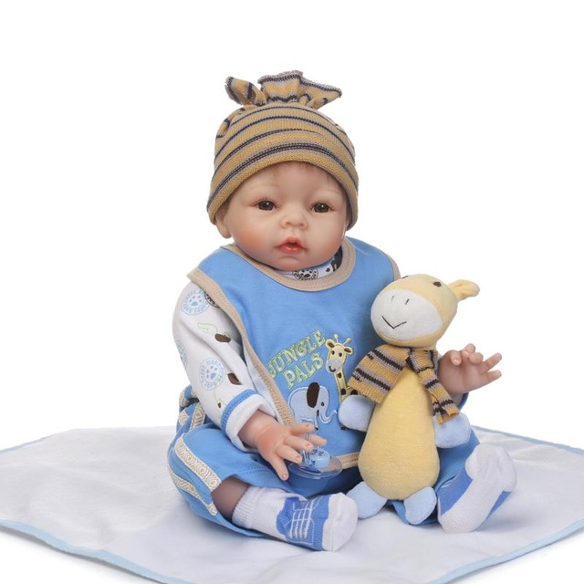 22Soft silicone reborn baby girl doll toy lifelike 55cm newborn babies dolls fashion birthday gifts Lovely brinquedos smile reborn girl with blue dress 22 lifelike baby dolls soft silicone fashion kids toy xmas gifts reborn baby doll for sale