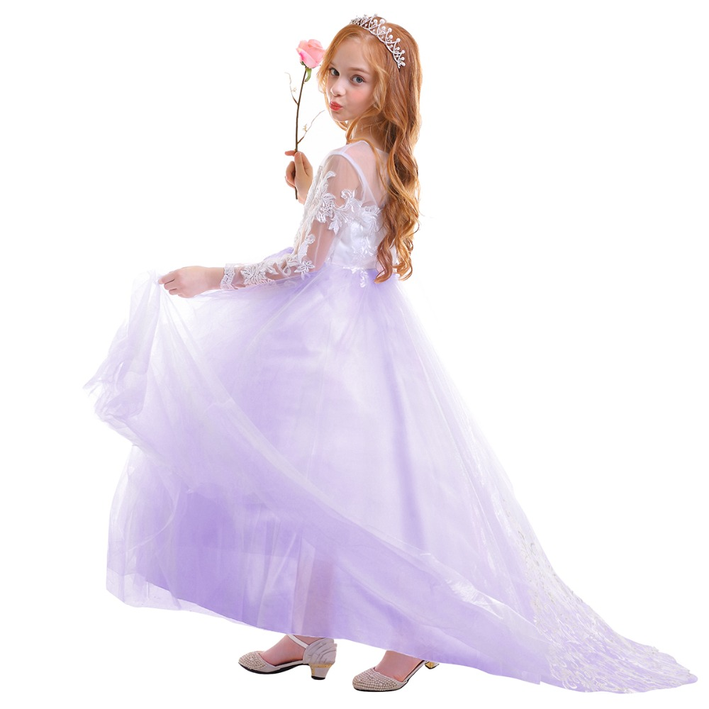 Elegant Baby Kid Girls Dress Tulle Lace Trailing Long Dress for Princess Party Wedding Bridesmaid Dress Girls Photography DressElegant Baby Kid Girls Dress Tulle Lace Trailing Long Dress for Princess Party Wedding Bridesmaid Dress Girls Photography Dress