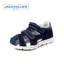 Купить с кэшбэком Jackmiller kids sandals boys leather closed-toe toddler casual flat beach shoes children sandals summer gray navy size 24-29