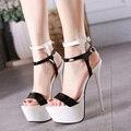 Tamanho 34 - 40 preto e branco de couro Pu sandálias de salto alto 16 cm Sexy Stripper sapatos sapatos de verão mulheres gladiador plataforma sandálias
