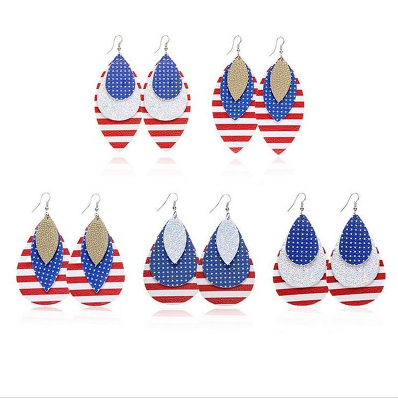 new fashion genuine leather teardrop earrings for women national flag multilayer glitter earrings lightweight statement jewelry in Drop Earrings from Jewelry Accessories