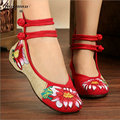 2017 Spring Women Lotus Embroidery Hasp Shoes Old Peking Mary Jane Soft Sole Casual Flats Green+Red Dance Shoes