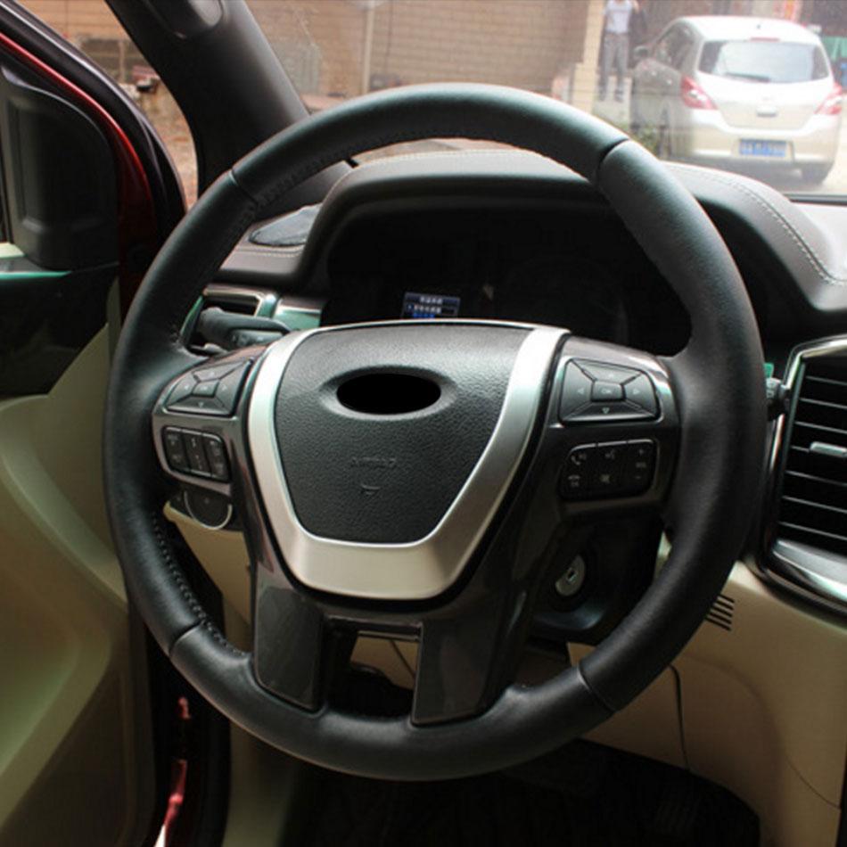 ABS Chrome רכב הגה כיסוי קישוט מדבקה לקצץ לפורד האוורסט Explorer אנדוור 2015 2016 2017 אביזרי רכב