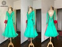GOODANPAR Элегантный Бальные платье для танцев Для женщин конкурс платье тонкой камень этап Одежда для танцев вальс фламенко бальные платья кос