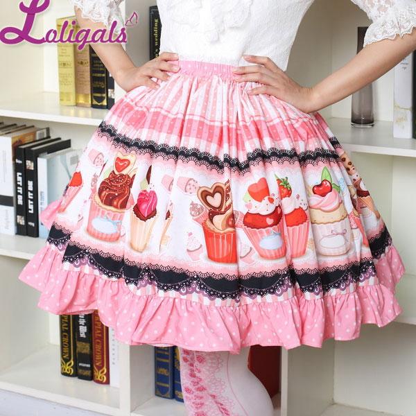Fancy Mori Girl Short Skirt Sweet Pink Cup Cake Printed Lolita Pleated Skirt Free Shipping