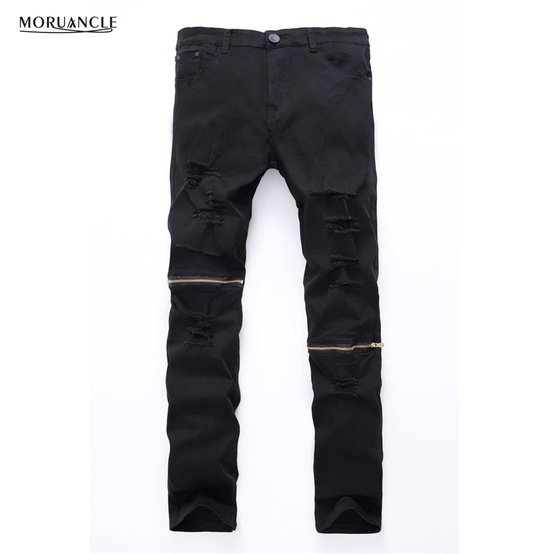 MORUANCLE Cool Swag Hip Hop Jeans Destroyed Distressed Knee Leg Zippers Ripped Jeans Pants For Male
