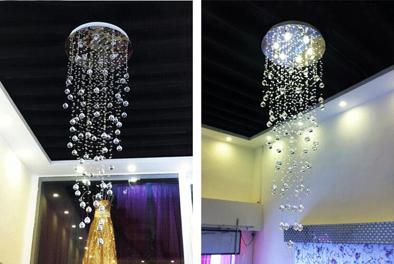 Modern Comtemporary Rain Drop Top K9 LED Crystal Chandelier Ceiling Lighing Fixture for Staircase Living Room