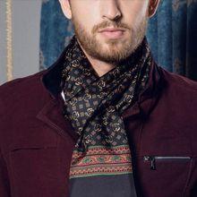 Thương Hiệu thời trang Mens 100% Silk Khăn Dài Cravat Scarives Hai Lớp Màu Đen Cho Mùa Xuân Mùa Thu Mùa Đông