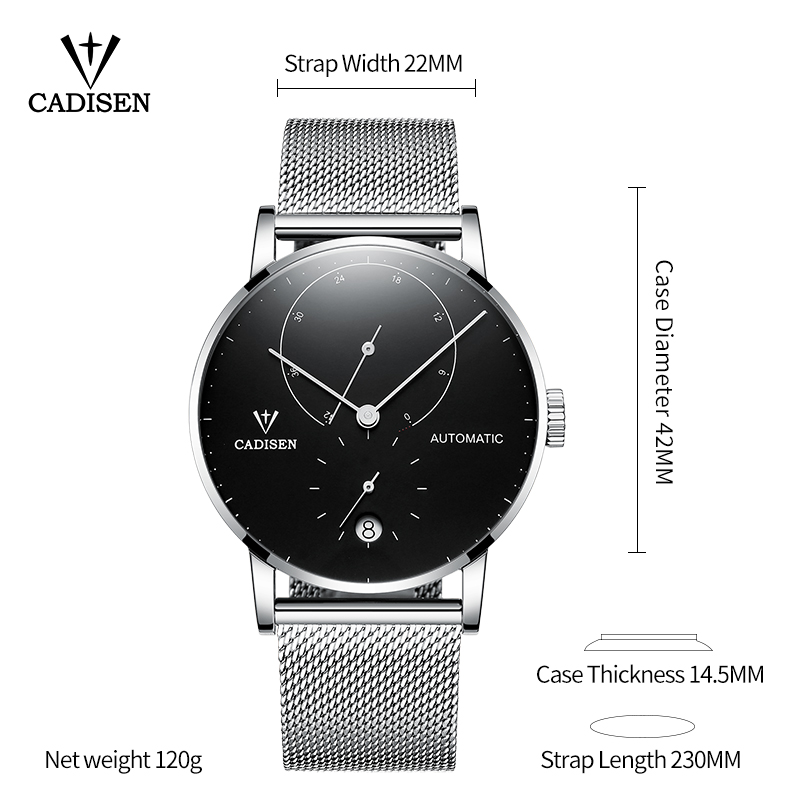 CADISEN Top męskie zegarki Top marka luksusowe automatyczne zegarek mechaniczny mężczyźni pełne stalowe biznes wodoodporny mody zegarki sportowe w Zegarki mechaniczne od Zegarki na  Grupa 3