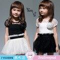 Бесплатная доставка 2015 летние дети одежда Платья Черный белый шить 2 цвета Марли С Коротким рукавом 2-6 Т Девочек платье