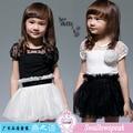 Free shipping 2015 summer children clothing Dresses Black white stitching 2 colors Gauze Short sleeve 2-6T Girls Dress