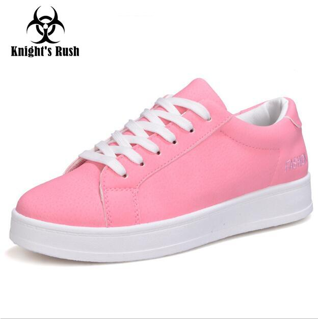 Soft Leather Lace-up Casual Shoes Students Breathable Pink Shoes Slipony 2018 Spring Autumn Women Footwear