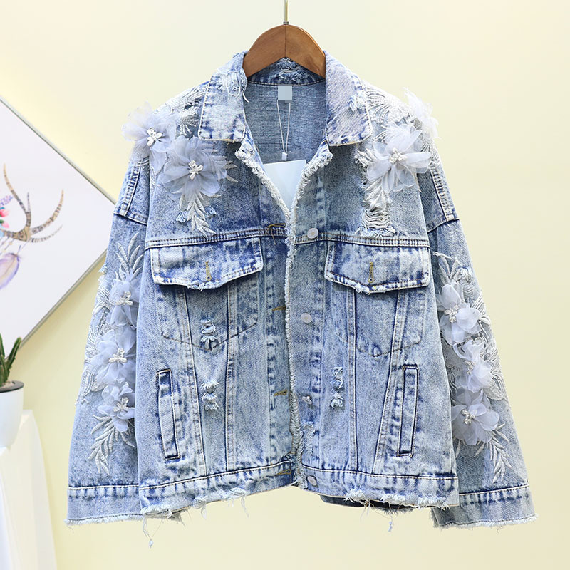 Female Loose Ripped Hole Denim Jackets 2019 New 3D Flower Casual Short Jeans Jacket Luxury Appliques