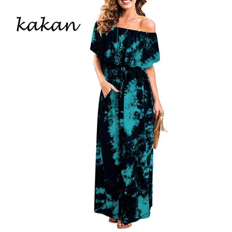 Kakan summer new womens green flower dress one word shoulder tie dyed short-sleeved long