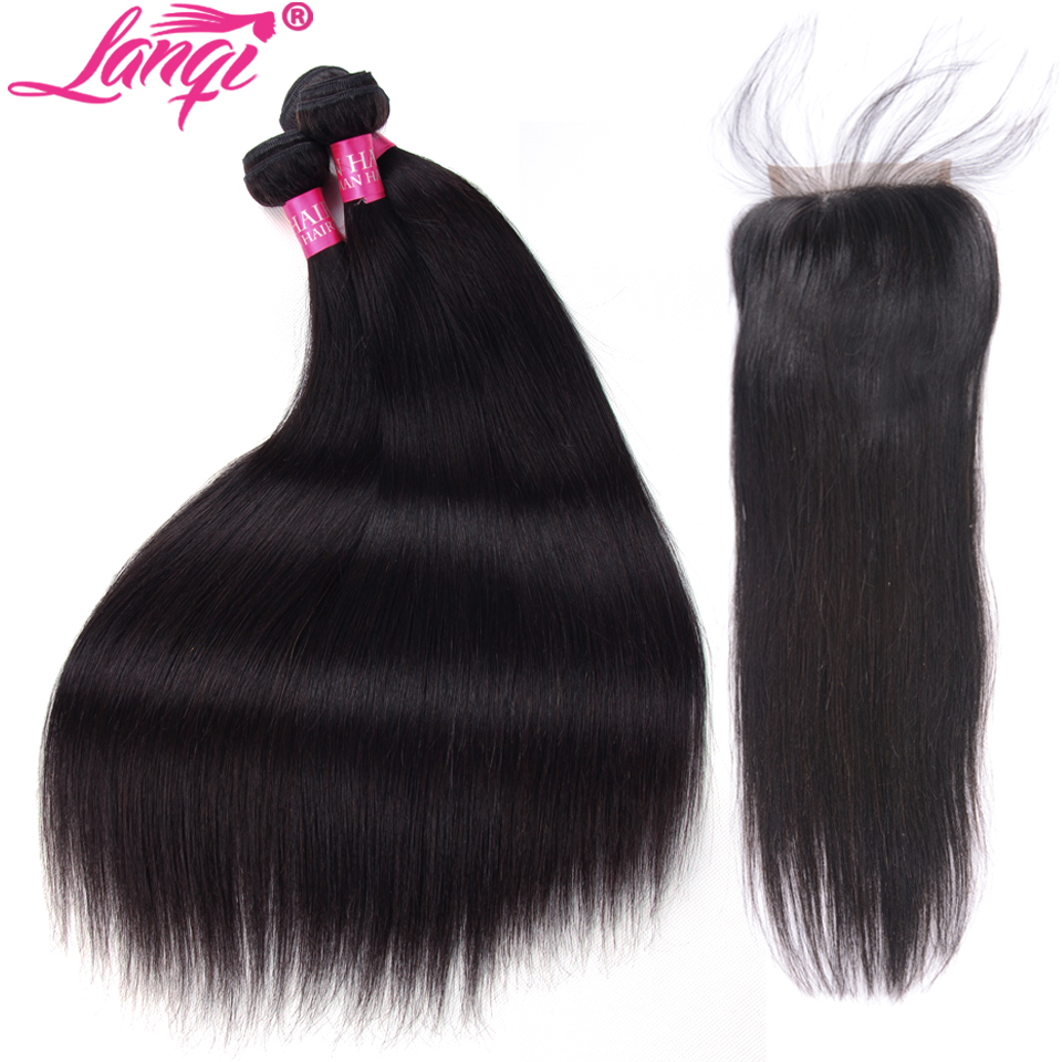 Straight Hair Bundles With Closure Peruvian Hair weave bundles with closure LanQi 28 30 32 inch