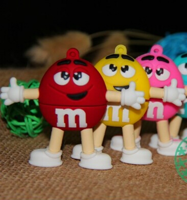 Chocolate M&M USB Flash Drive PenDrive USB Stick Memory Pen Drive U Disk Creative 4GB 8gb 16gb 32gb 64g Lovely Fun Thumbdrives