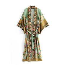 Blouses Kimono Boho Casual Shirt Long Womens New Printed Cardigan Robe