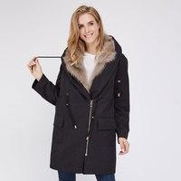 Aiyangsilan Крылья Ангела лисий мех куртка полный хлопка с длинным Для женщин меховые куртки Пальто черное на молнии с натуральным лисьим мехом в