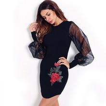 INDRESSME Sexy Print Mini O Neck Lady Party Bandage Dress Fashion Full Sleeve Autumn Women Dress Femme Vestidos 2017 New Arrival