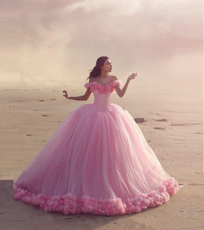 Vestido De Noiva 2018 Princess Wedding Dress Ball Gown Off: Vestido De Noiva 2018 Pink Quinceanera Handmade Flowers