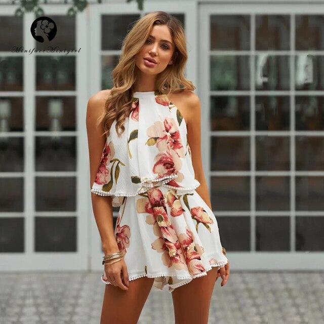 b4ac52acecc Boho Chic Summer White Floral Print Playsuit Halter Ruffles Elegant  Jumpsuits Romper Beach Casual Playsuits 2018