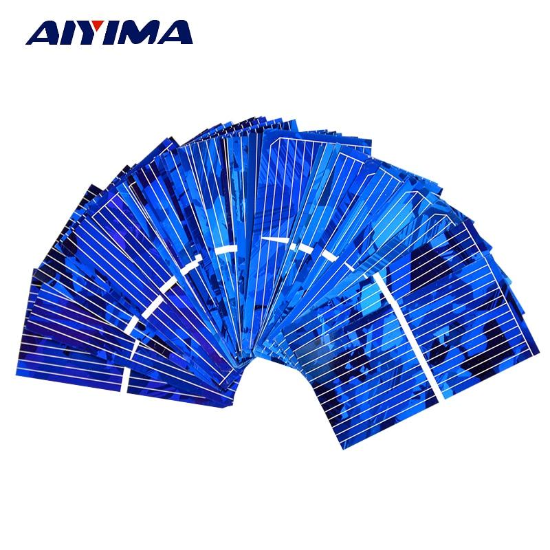 AIYIMA 100 unids Color Cristalino Panel Solar Sunpower Célula Solar 0.5 V 450mA