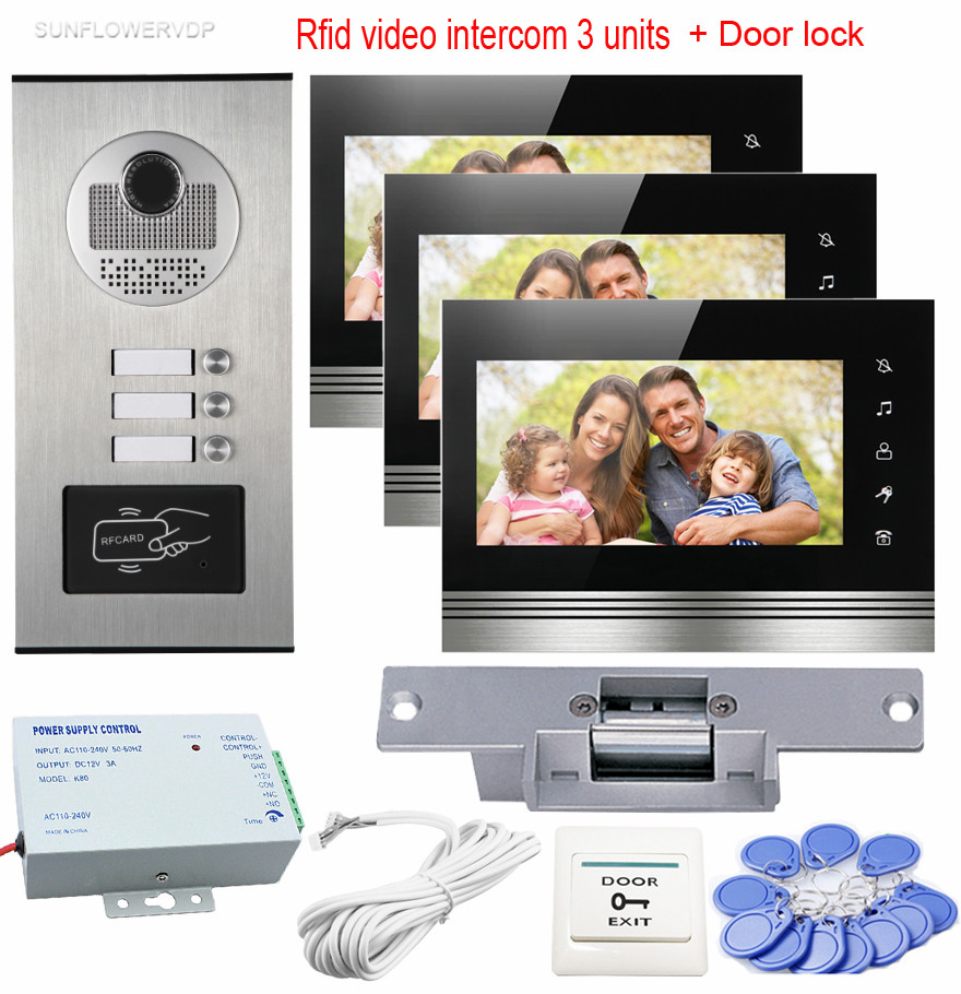 Rfid Video Intercom 3 Units Doorbell With Camera 7 Color Monitors Home Intercom With Electric Strike Lock Door Intercom Wired rfid reader doorbell camera for 10 apartment door bell 4 3 color monitors home intercom with electronic lock video doorman home