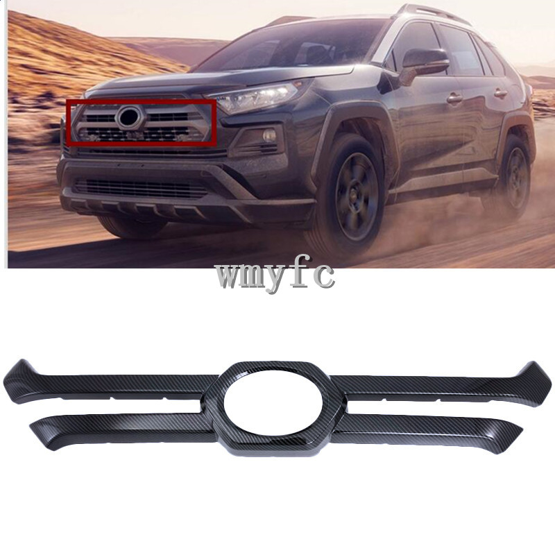 For Toyota RAV4 Adventure 2019 2020 Carbon Fiber Style ABS Front Center Grill Grille Decorative Cover Trim Strips Car Styling