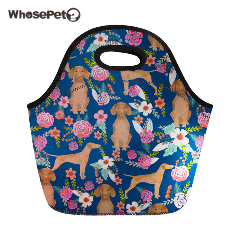 WHOSEPET Lunchbag For Children Girls Vizsla Dogs Printing Women Insulated Lunch Bag Female Personalized Picnic Food Hand Tote