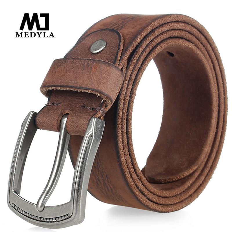 MEDYLA Original Cowhide Man's Belt  High Quality Natural Cowhide Alloy Buckle Soft Belts For Men Jeans Accessories Men's Gift