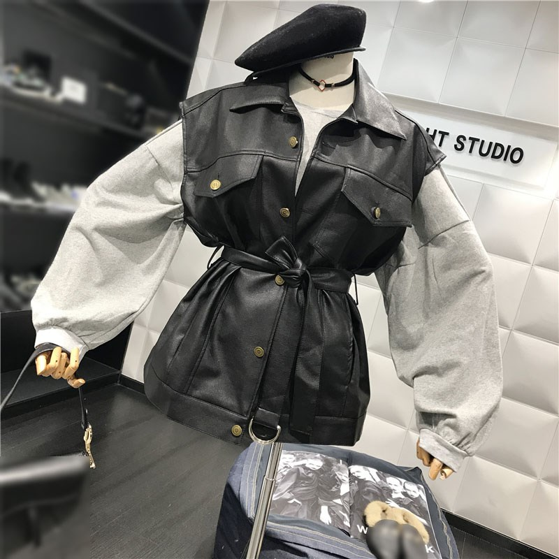 Autumn Winter Women Biker Motos Jacket Button Pu Leather Coat Sleeveless Basic Black Vest Jacket Waistcoat