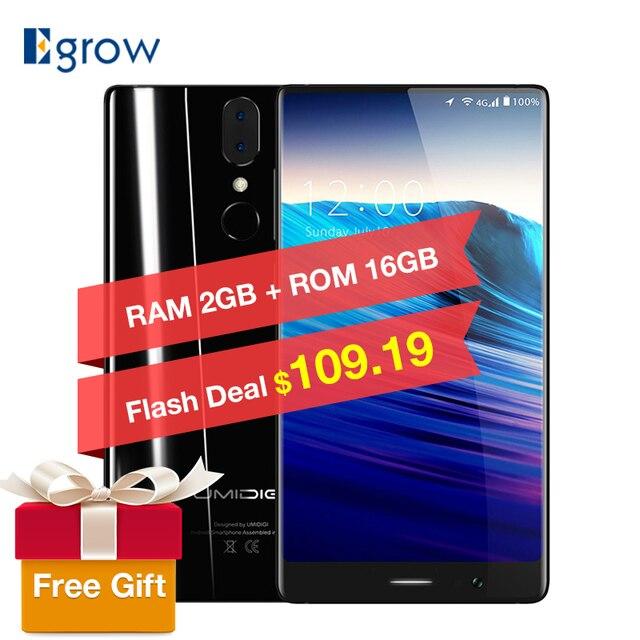 Оригинальный umidigi Кристалл смартфон 2 ГБ Оперативная память 16 ГБ Встроенная память 5.5 дюймов Android 7.0 MTK6737T quad-core 13MP двойной -CAM 3000 мАч мобильного телефона