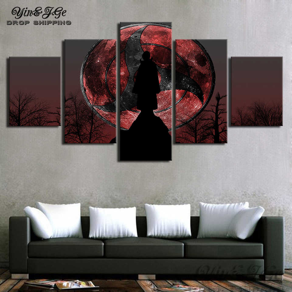 Modern artworks 5 pieces canvas art naruto itachi uchiha anime poster hd prints picture decor living room painting frameworks