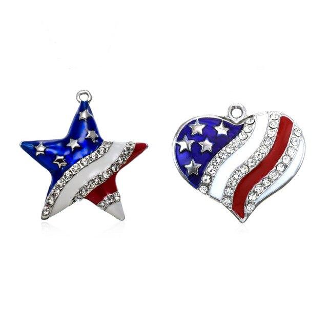 my shape Wholesale Metal USA American Flag Rhinestone Heart and Star  Pendant Charm Patriotic 4th of a41fc0db445f